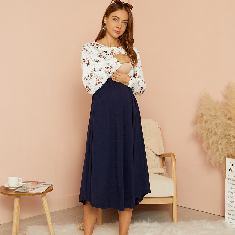 PatPat / Maternity Round collar Color Block  Midi Parachute skirt Long-sleeve Nursing Dress