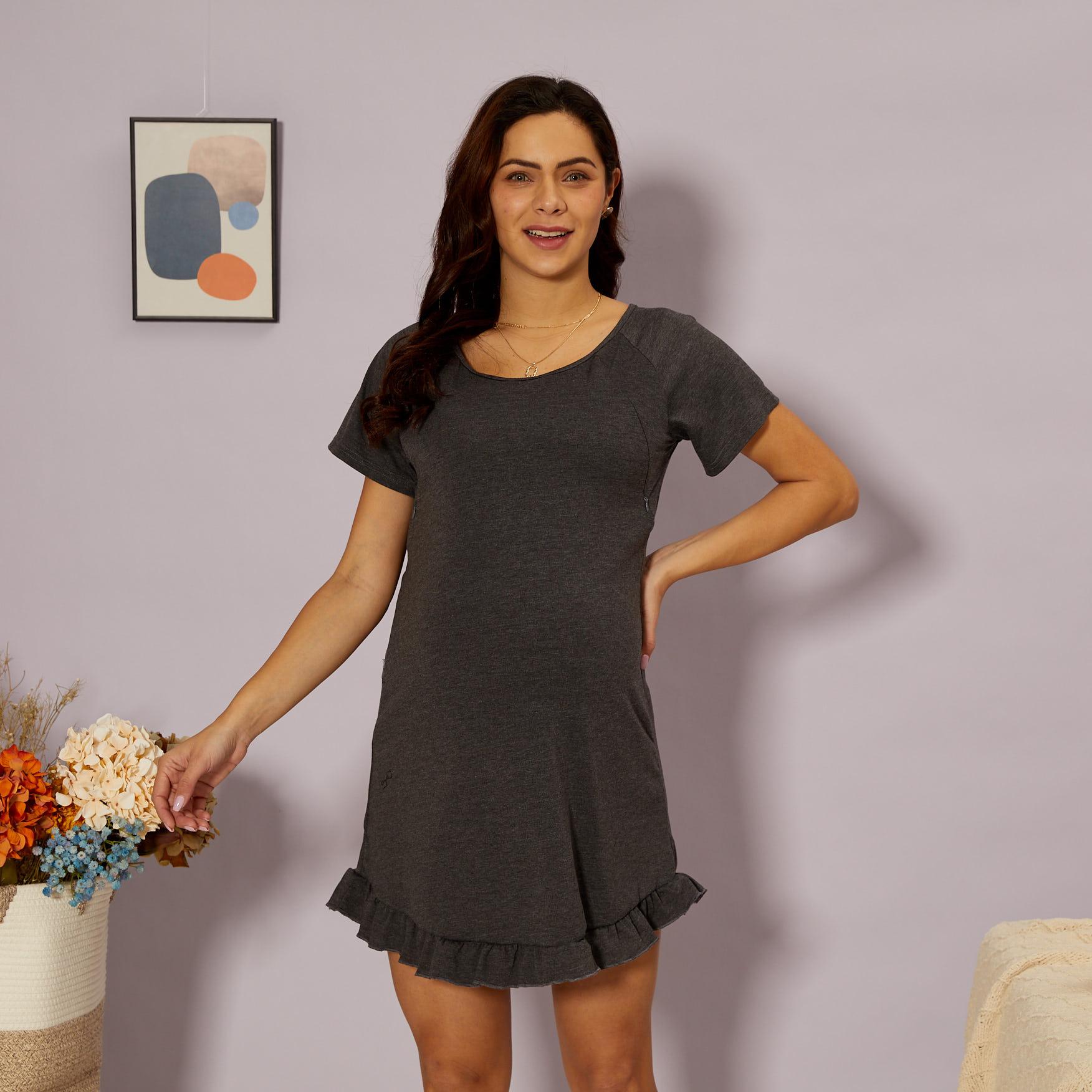 PatPat / Maternity Round collar Plain Normal Parachute skirt Short-sleeve Nursing Dress