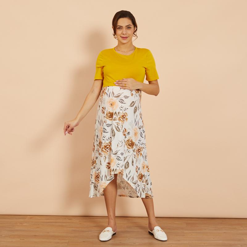PatPat / Maternity Round collar Color Block full print Ginger Knee length Parachute skirt Short-sleeve Nursing Dress