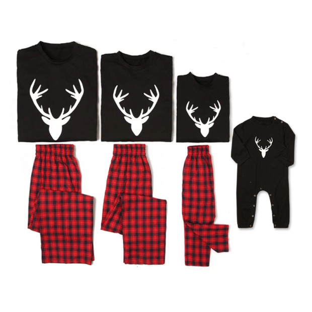 Купить со скидкой Christmas Deer Printed Plaid Pajama Set for Family
