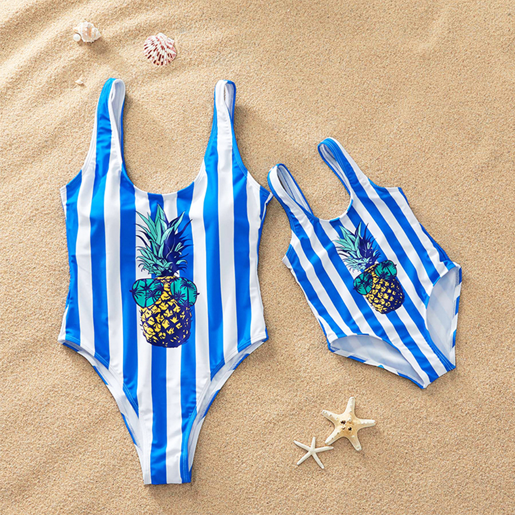 Купить со скидкой Pineapple Striped Swimsuit for Mom and Me