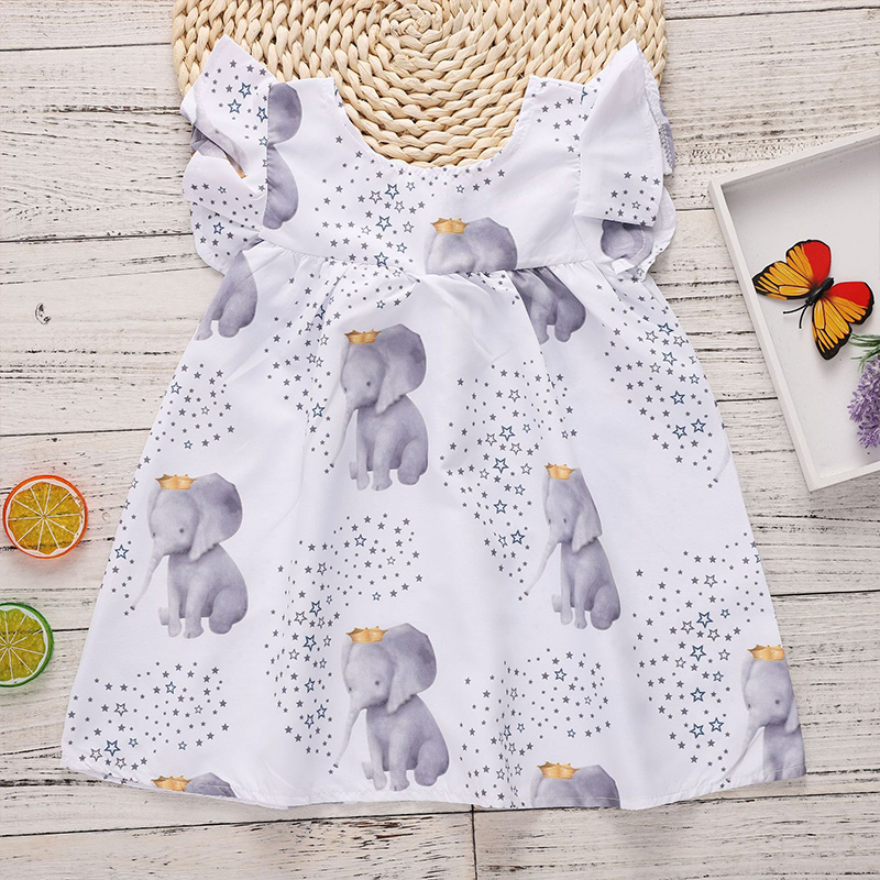 Купить со скидкой Lovely Crown Elephant Star Print Flounce-sleeve Dress