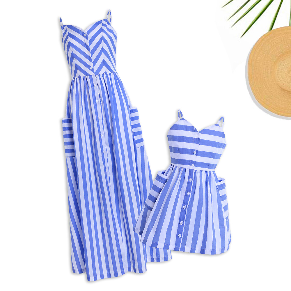 Купить со скидкой Mommy and Me V-neck Striped Matching Maxi Dress in Blue