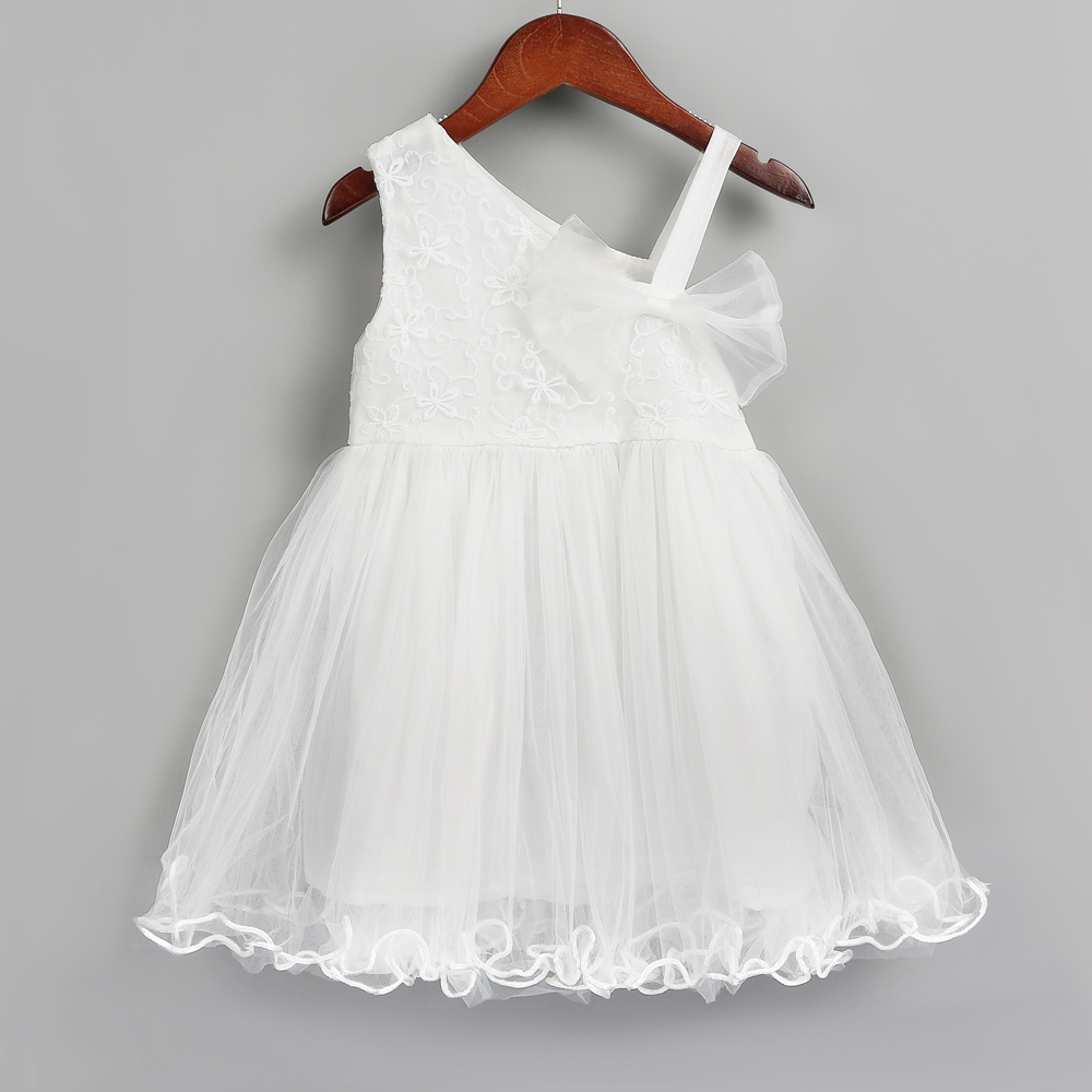 PatPat / One Shoulder Tulle Party Dress with Bow