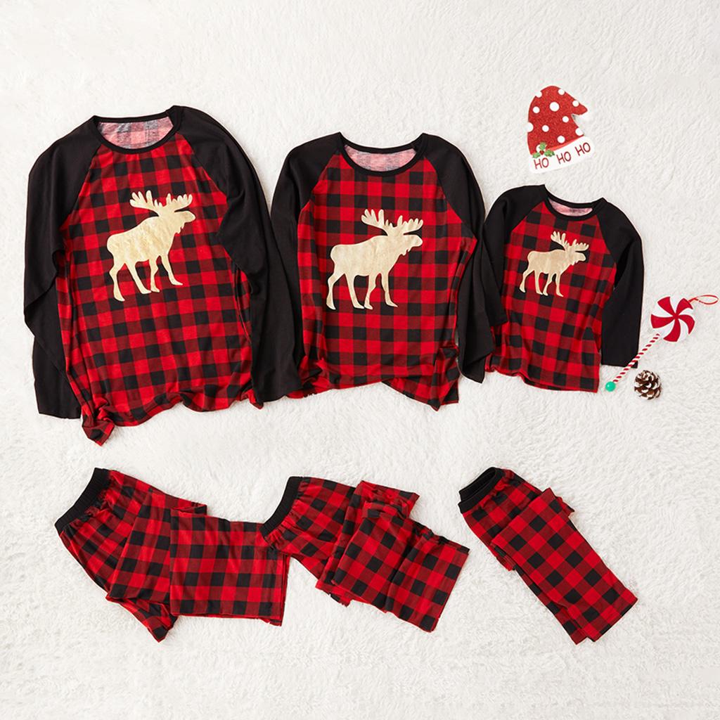 Trendige Gold-Reh-Schwarz-und-Rot-Plaid Passenden Schlafanzug