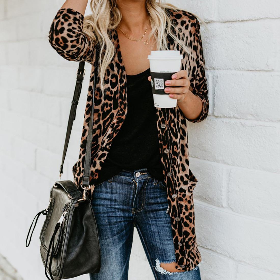 Moda Leopardo manica Lunga Cardigan