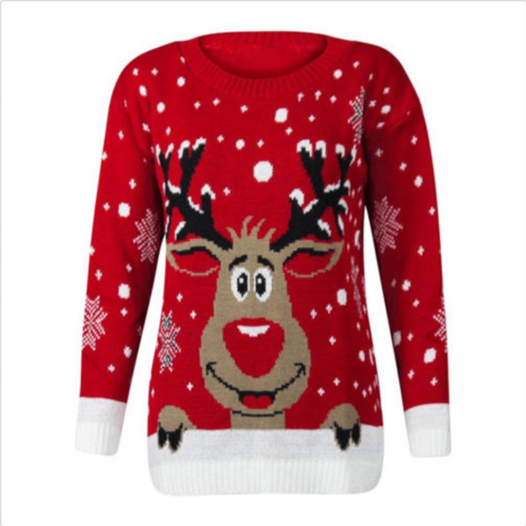 Купить со скидкой Stylish Christmas Deer Patterned Long-sleeve Sweater