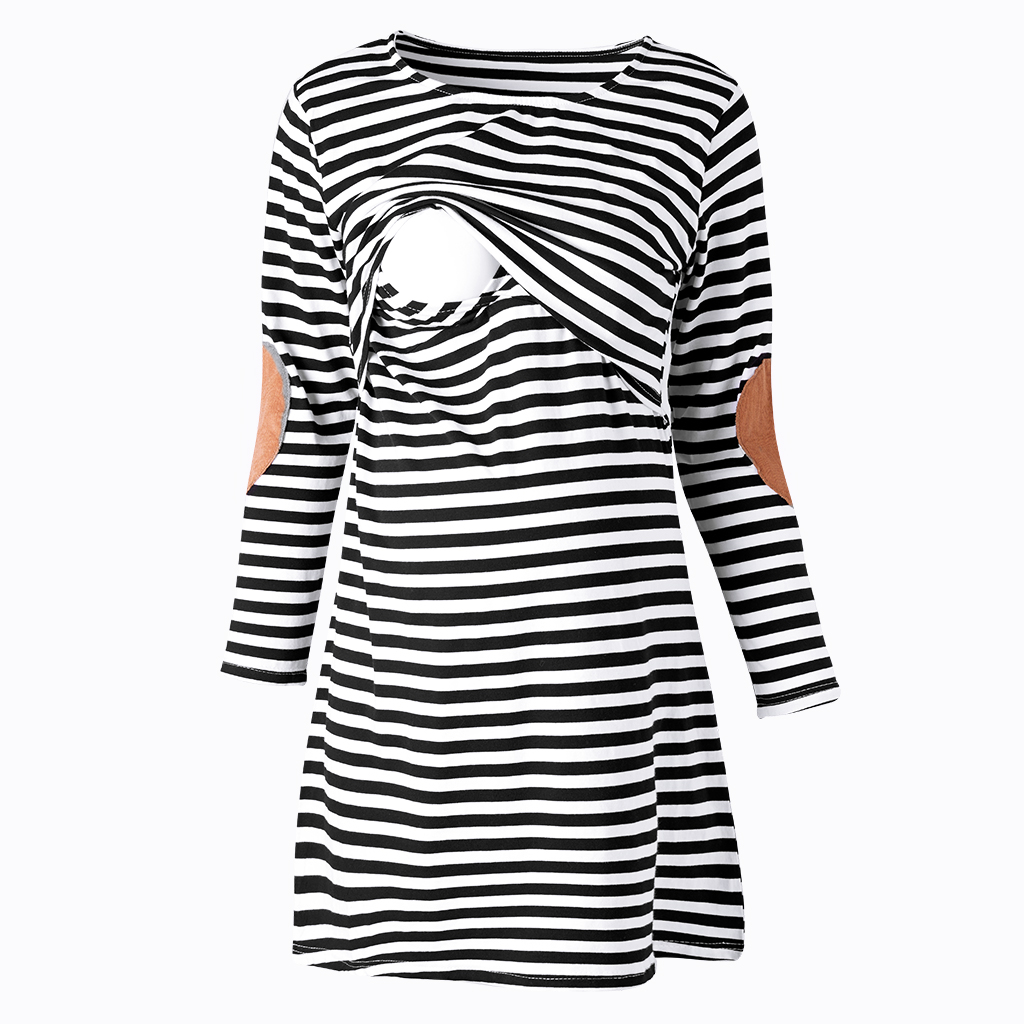Купить со скидкой Classic Stripe Maternity Nursing Dress