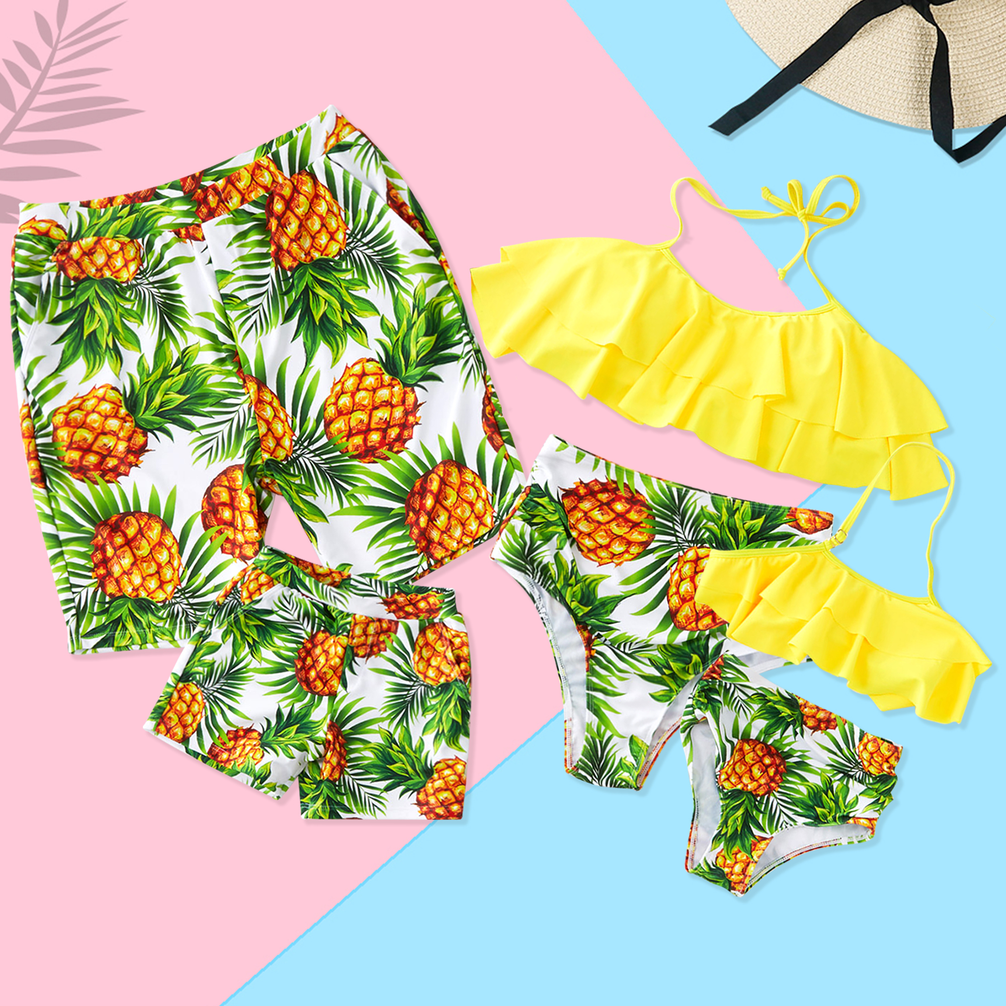 PatPat / Summer Pineapple Print Family Swimsuits