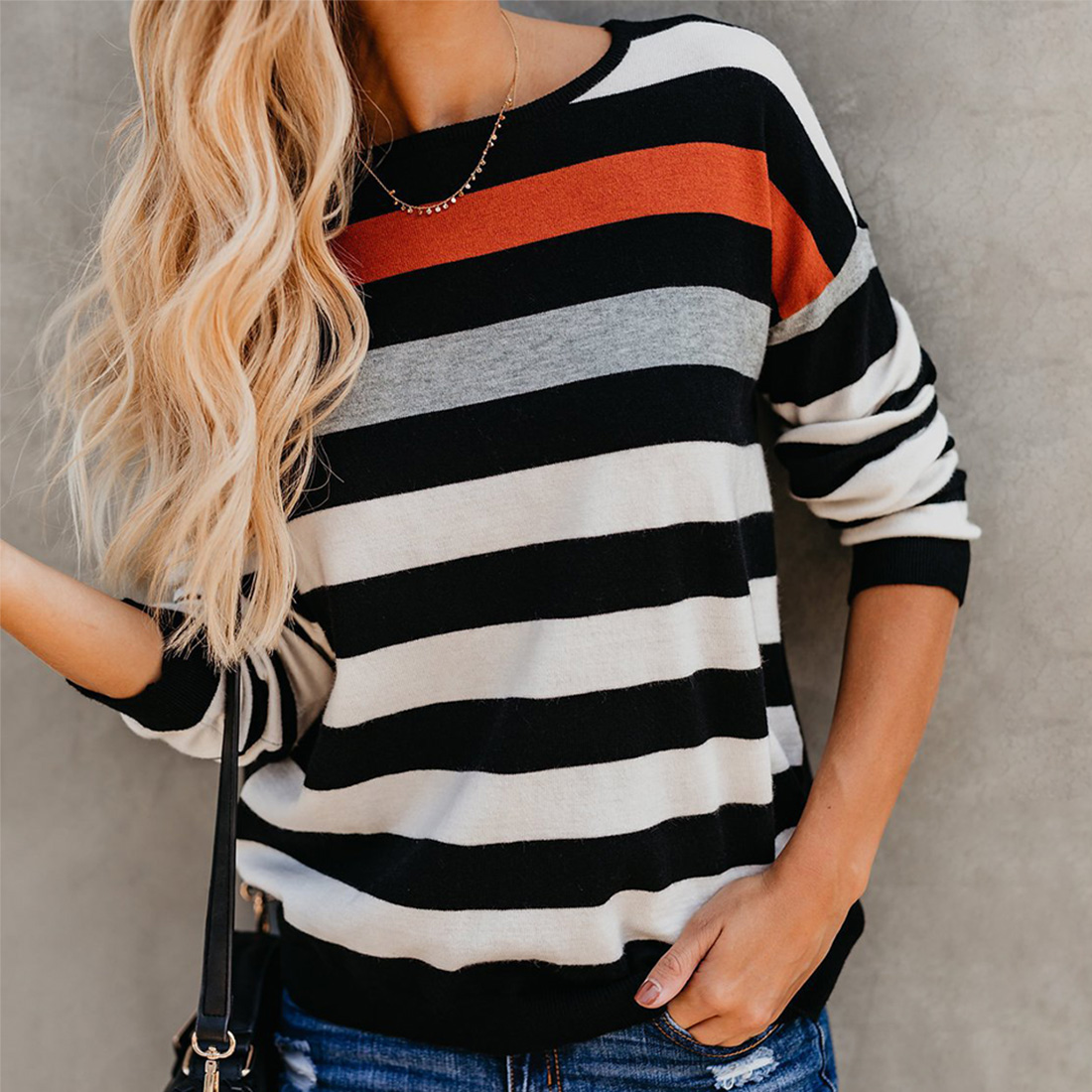 Купить со скидкой Color block Striped Round Neck  Long-sleeve Shirt