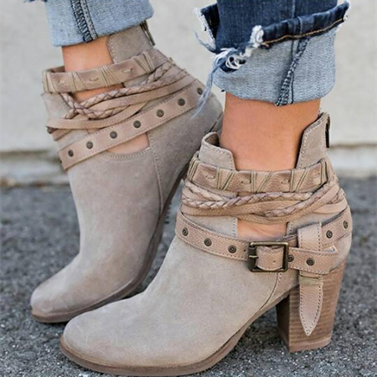 Stilvolle, Solide Schnalle Dekor Ankle Boots
