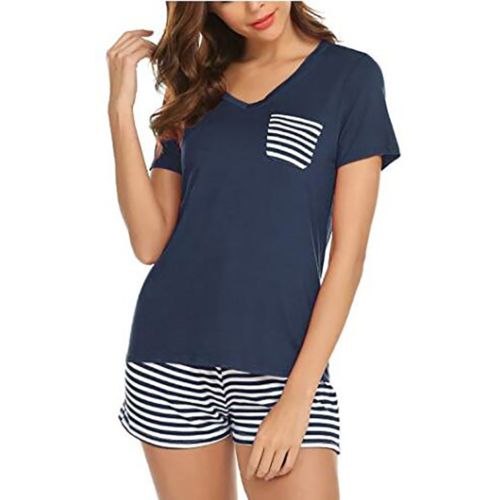 Купить со скидкой Women's Striped Short-sleeve Pajamas - Top And Shorts