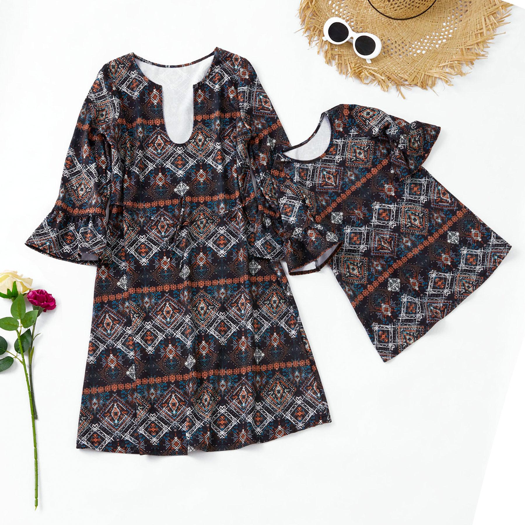 Geometric print Matching Dresses