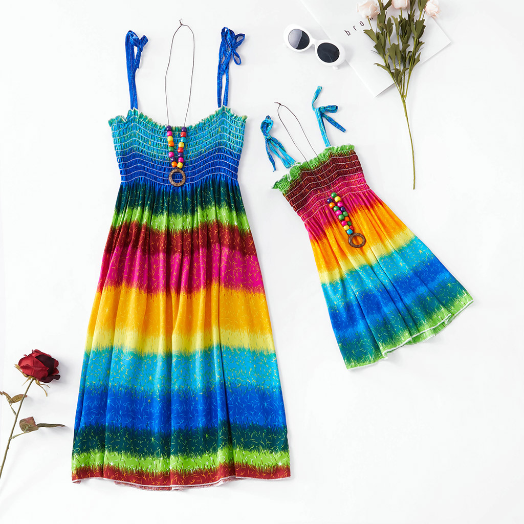 Купить со скидкой Rainbow Sling Dress for Mommy and Me