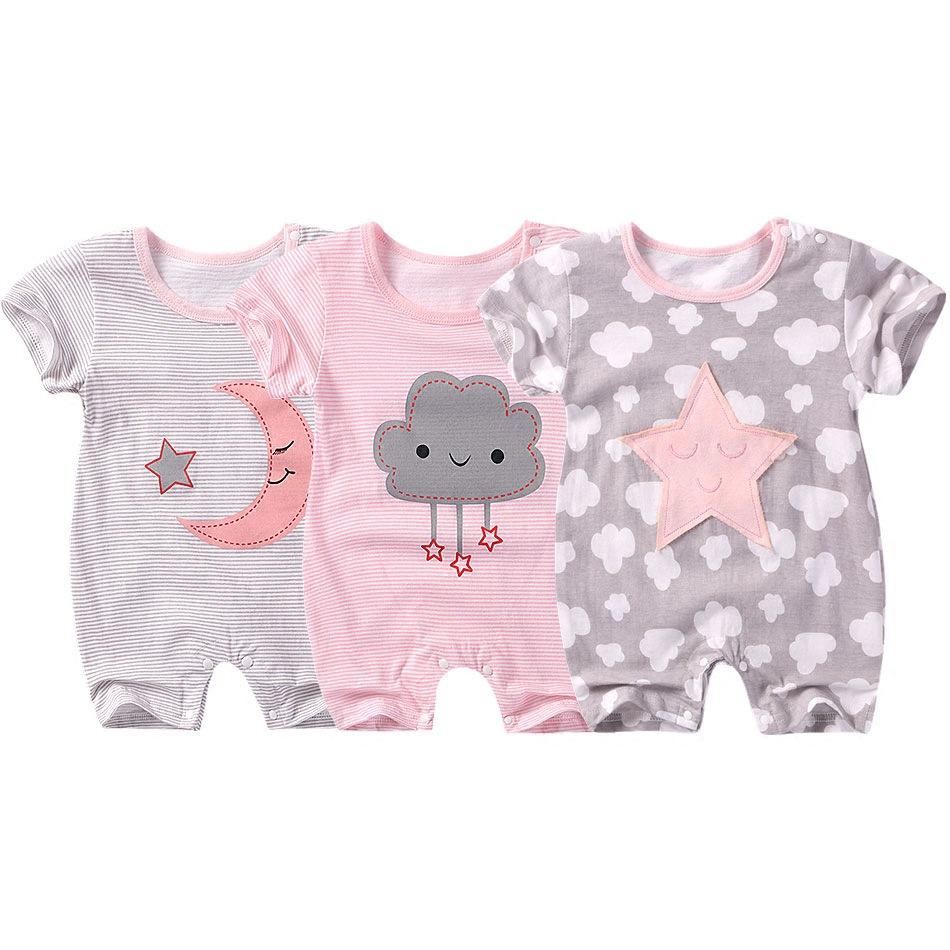 Cute Stars Moon or Cloud Print Bodysuit for Baby