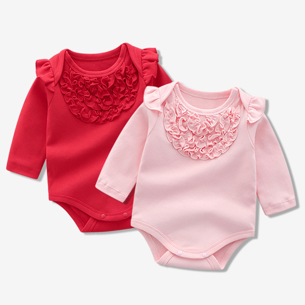 Baby Solid Floral Decor Long-sleeve Bodysuit