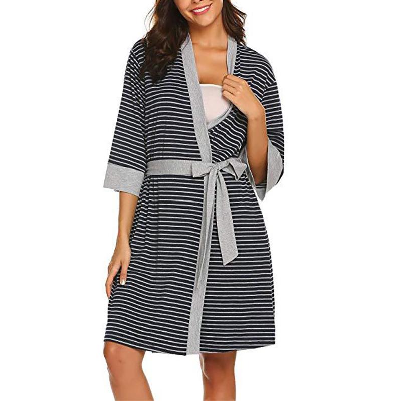 Cozy Striped Maternity Nursing Night Robe