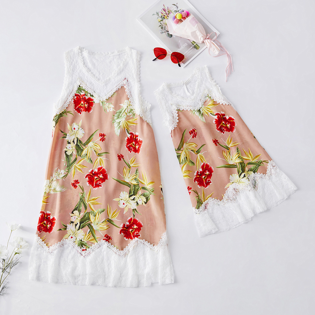 Lace Stitching Vest Dresses for Mommy and Me