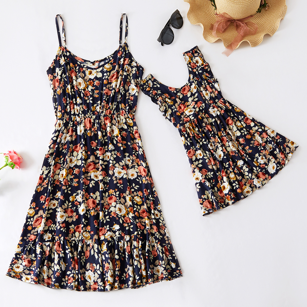 Floral  Print Matching Midi Dresses