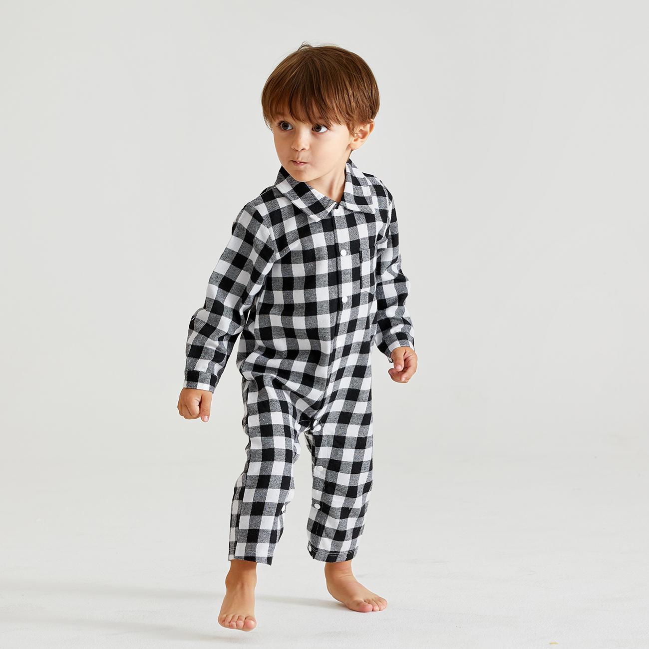 Baby Boy Classique À Carreaux Col Polo Combi