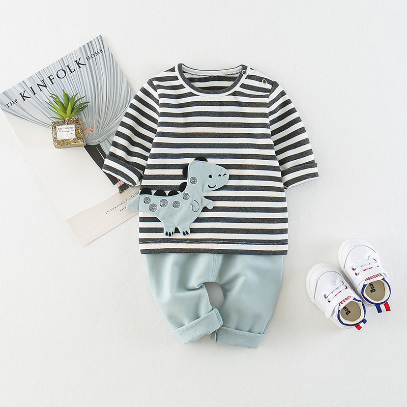 Купить со скидкой 2-piece Cute Dinosaur Striped Long Sleeves Tee and Pants for Baby
