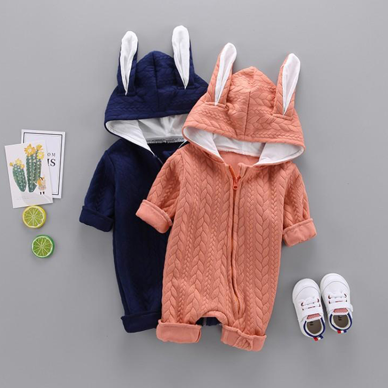 Купить со скидкой Adorable Baby Rabbit Ear Hooded Jumpsuit