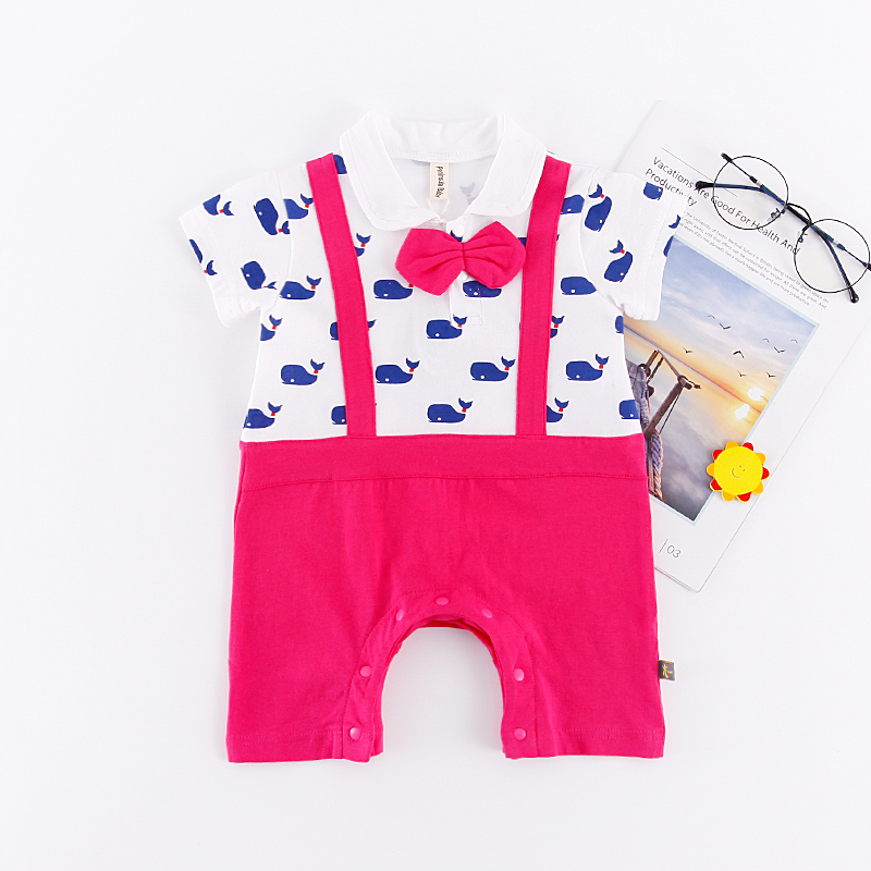 Faux-2 Whales Print Short-sleeve Romper for Baby