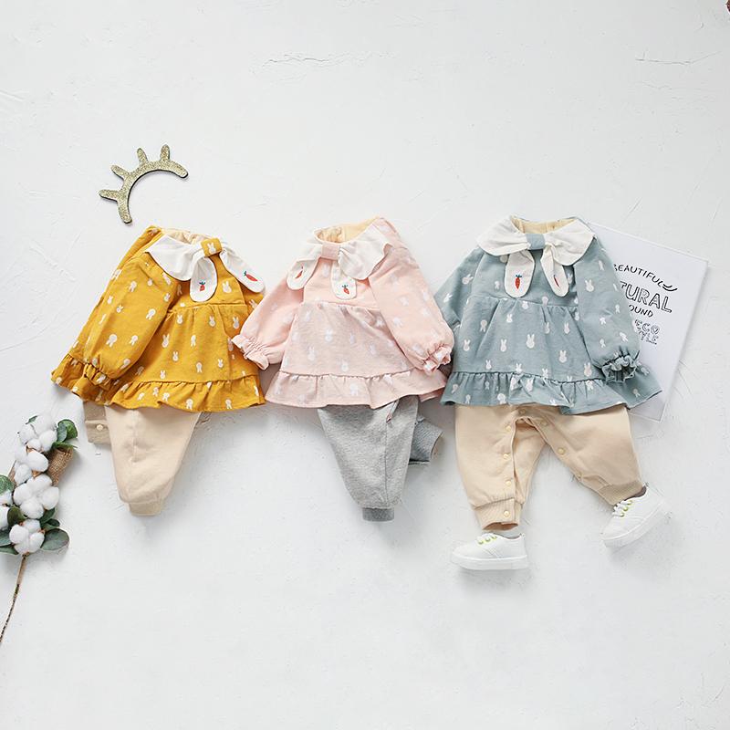 Bébé Fille Mignonne de Lapin Allover Poupée Collier d'Épissure de la Conception à manches Longues de la Combi