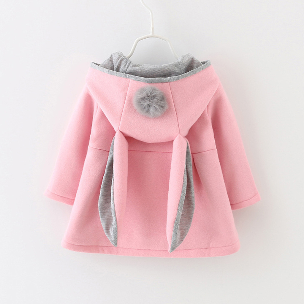 Купить со скидкой Sweet Rabbit Ears Hooded Long-sleeve Coat for Baby Girls