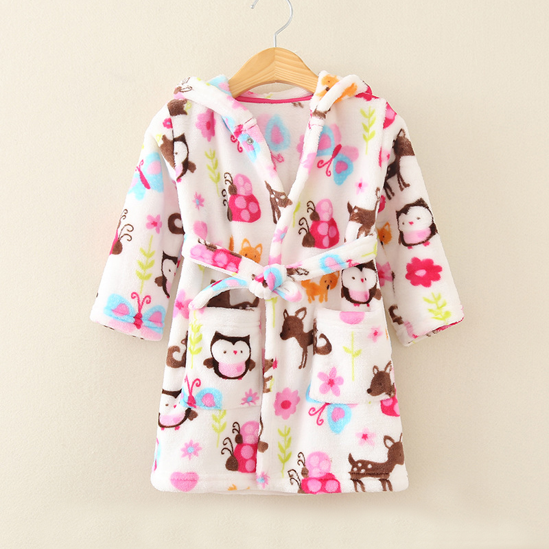 Купить со скидкой Comfy Allover Printed Plush Night Robe for Girls