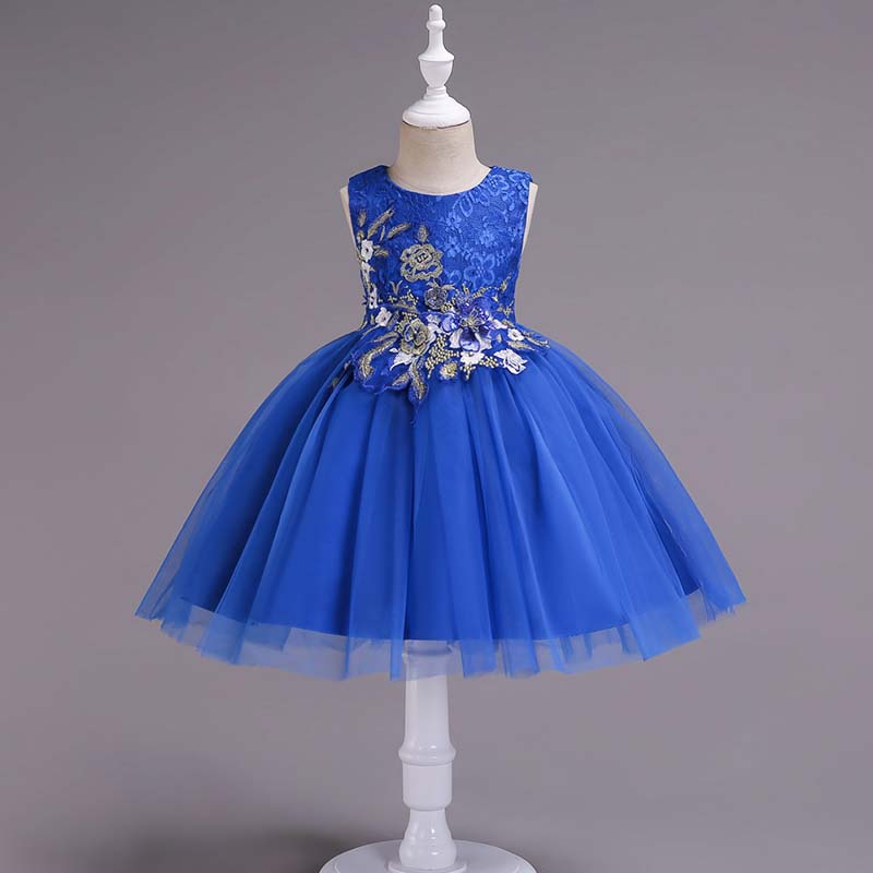Image of Exquisite Embroider Flower Sleeveless Tulle Party Dress for Girl