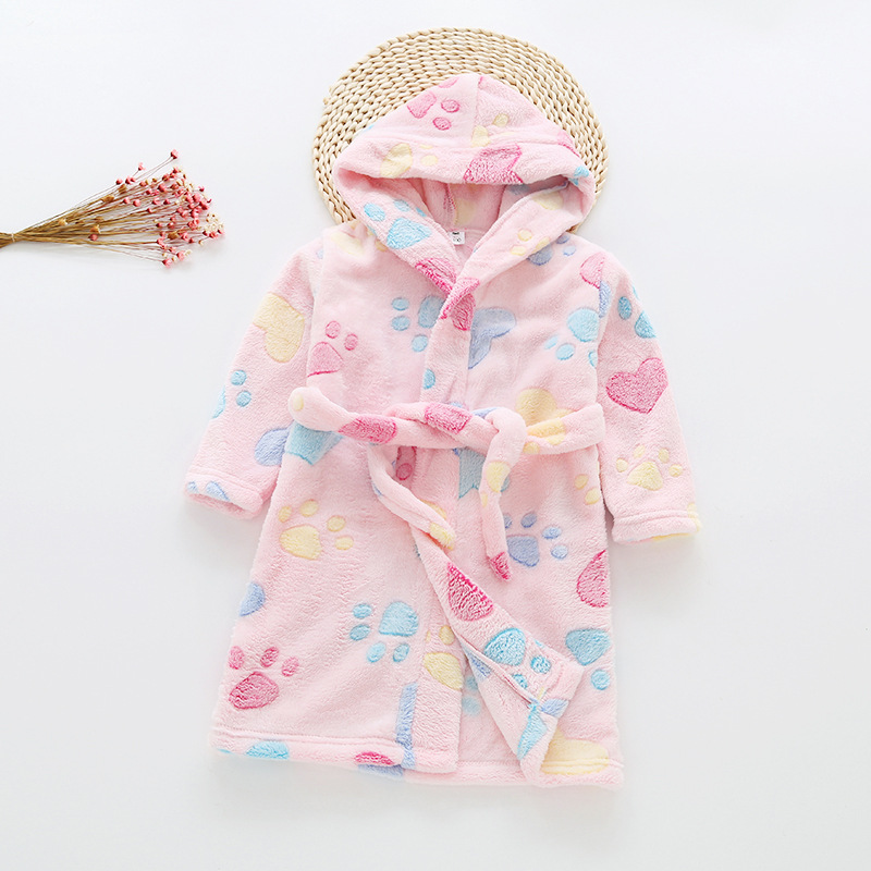 Купить со скидкой Cute Footprint Bathrobes for Kids