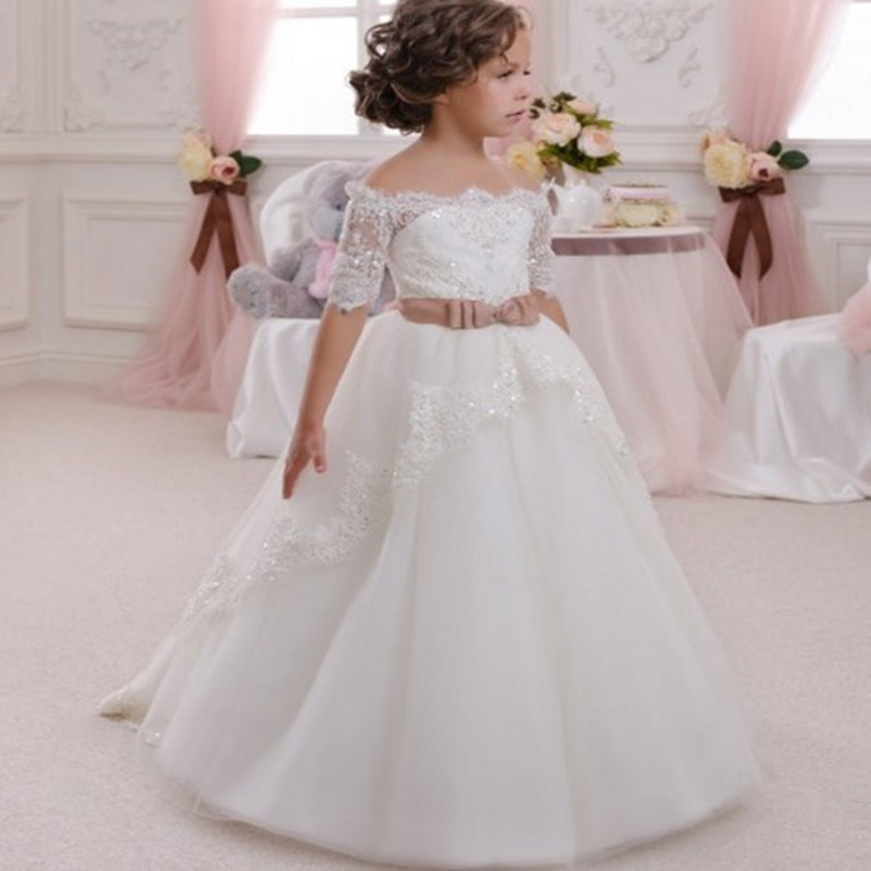 Image of Exquisite Rhinestone Off-shoulder Tulle Party Dress for Girl