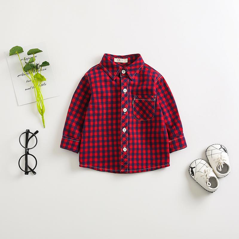 Baby/ Toddler's Plaid Cartoon Print Shirt