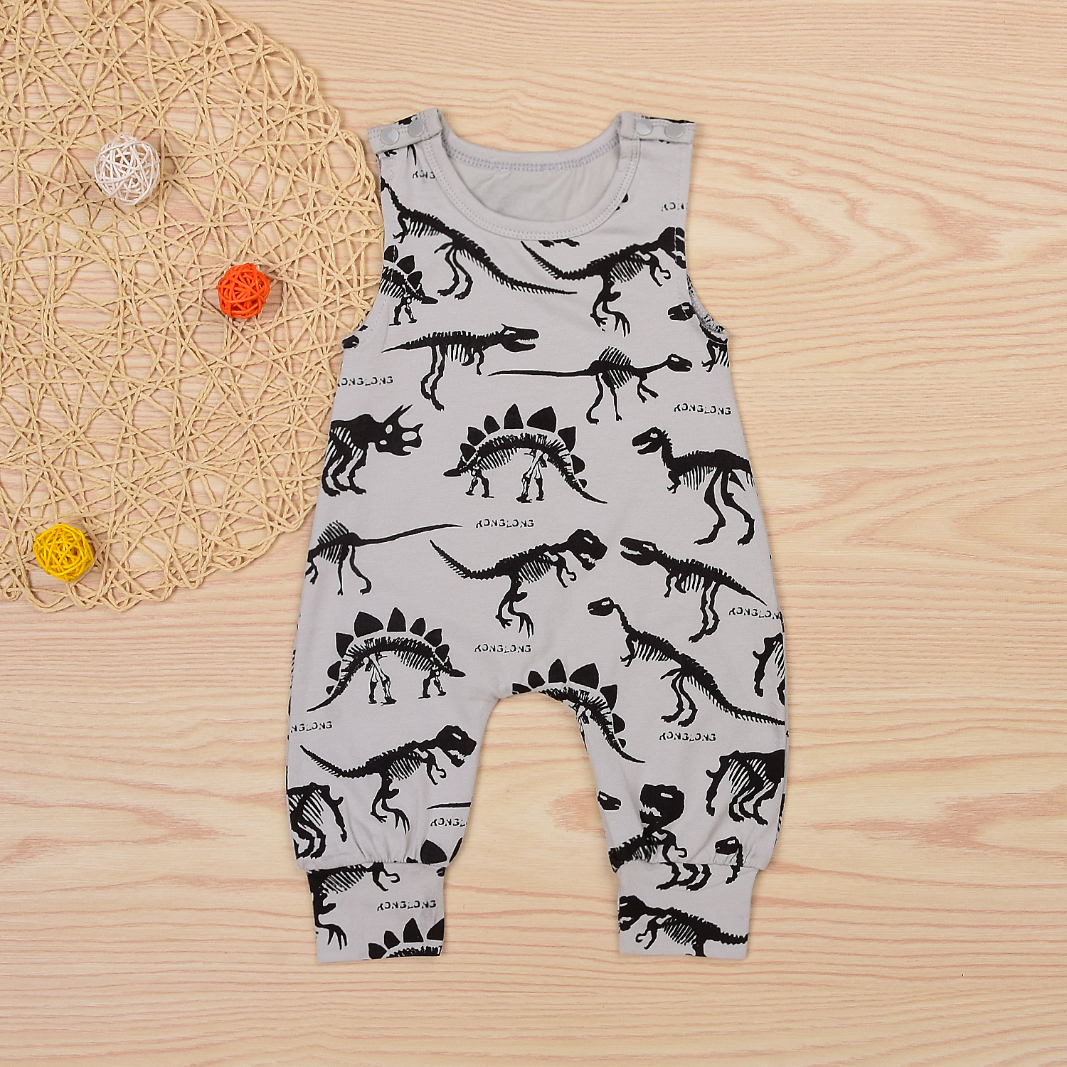 Купить со скидкой Cool Dinosaur Sleeveless Jumpsuit for Baby Boy