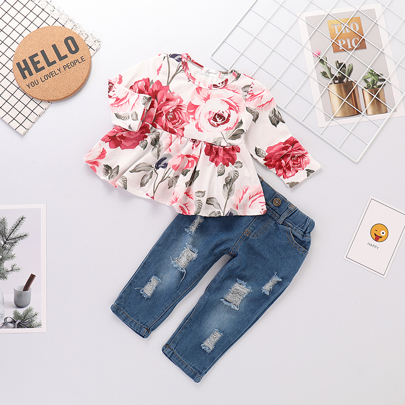 Купить со скидкой 2-piece Sweet Floral Ruffle Long-sleeve Top and Jeans Set