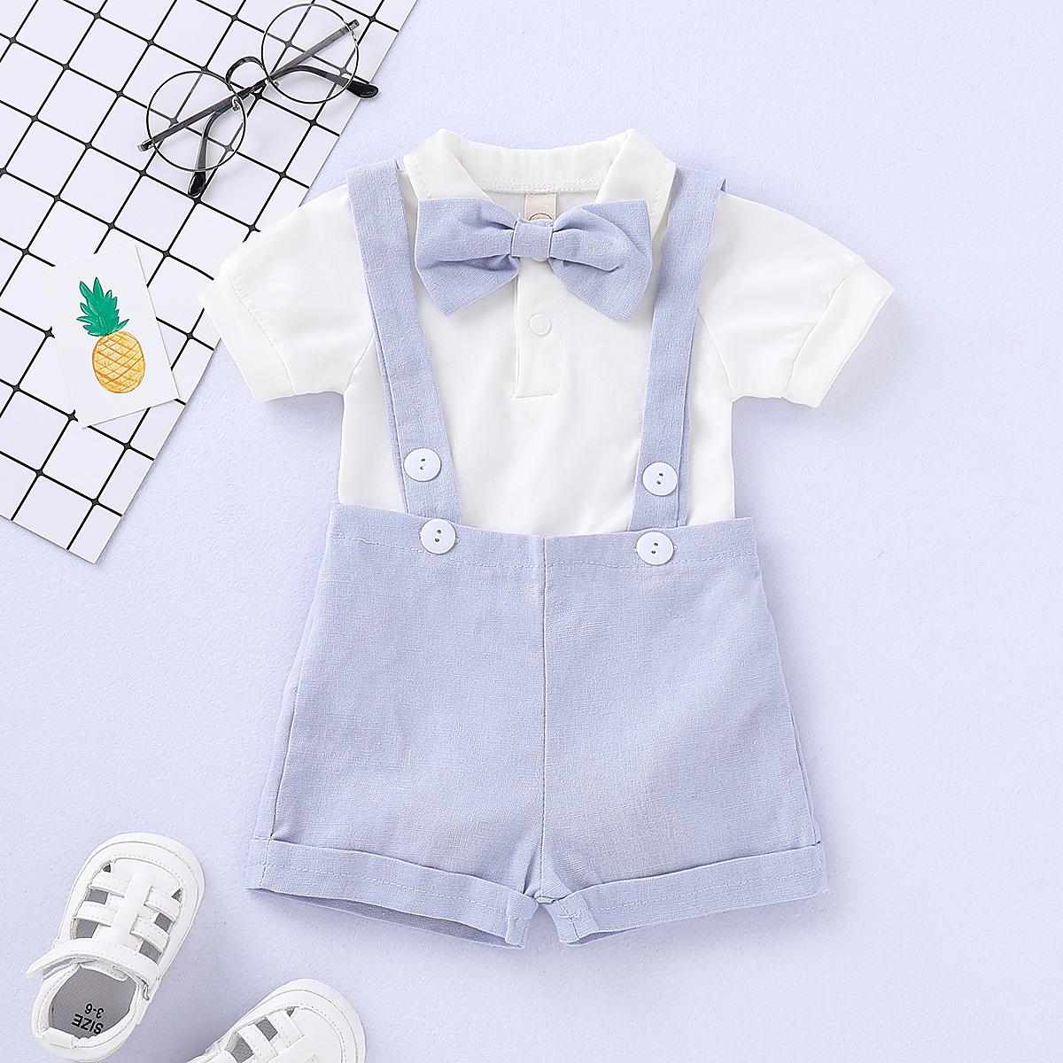 Baby Wear|Girls Handsome Solid Bow Tie Bodysuit and Suspender Shorts Set