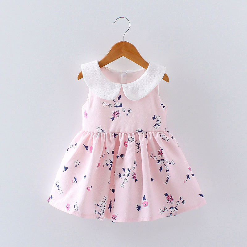 Sweet Floral Sleeveless Doll Collar A-line Dress for Baby Girl