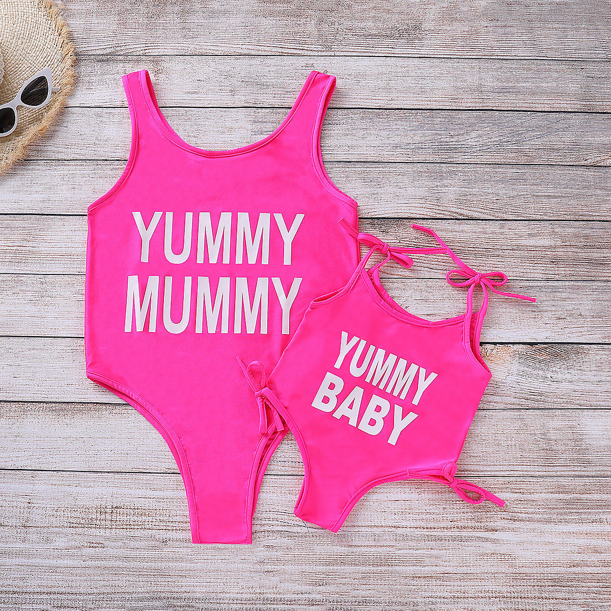 Купить со скидкой Trendy Letter Print Swimsuit for Mom and Me