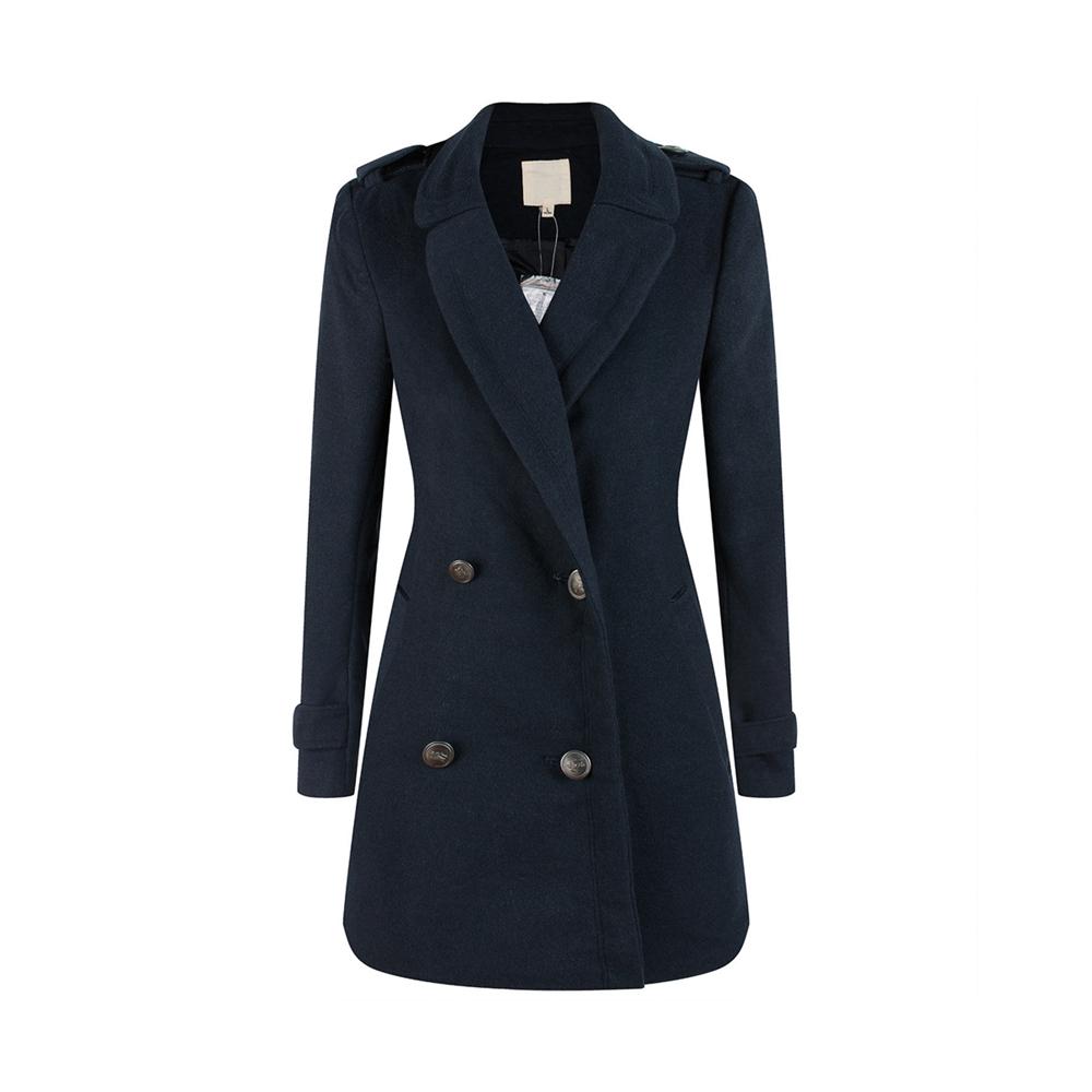 Купить со скидкой Women Solid Cool Lapel Double-breasted Woolen Jacket