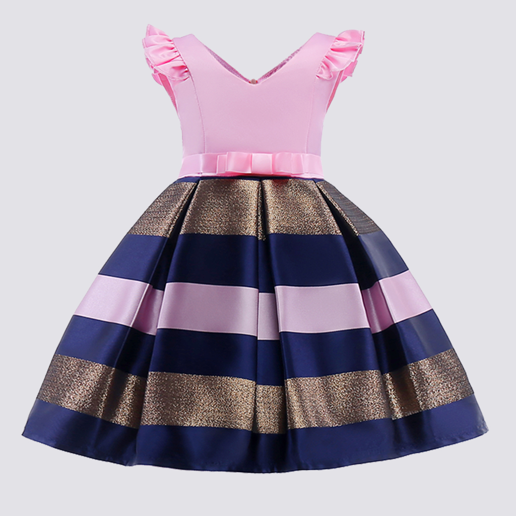 Купить со скидкой Girl's Elegant Stripes Angle-sleeve Party Dress