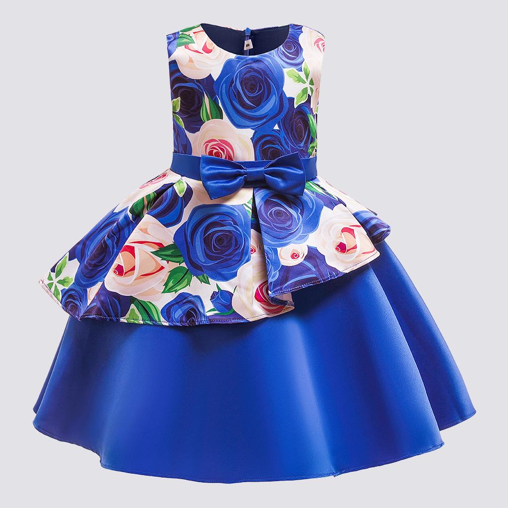 佛山市珍彤服饰有限公司 / Bebê / criança menina floral allover bowknot vestido decoração de festa