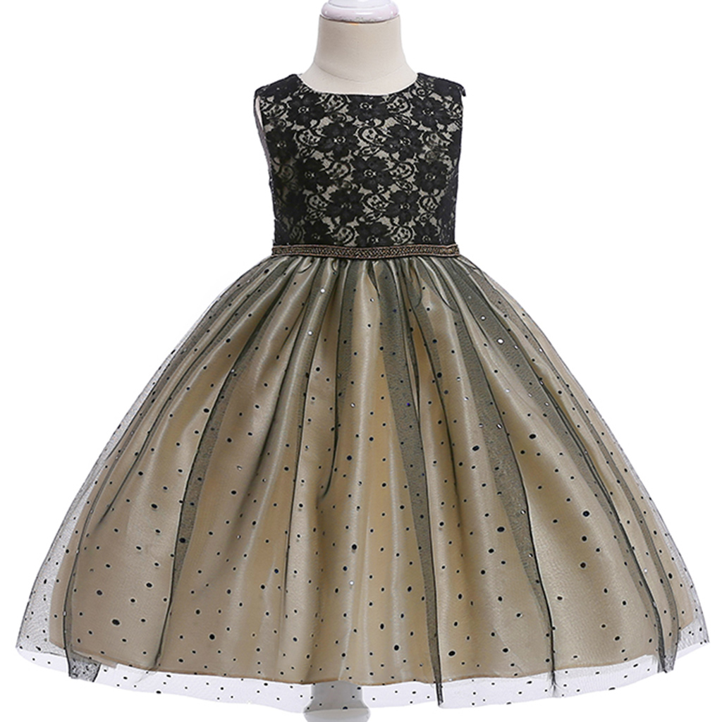 Image of Girl's Chic Rhinestone Decor Lace Tulle Party Dress