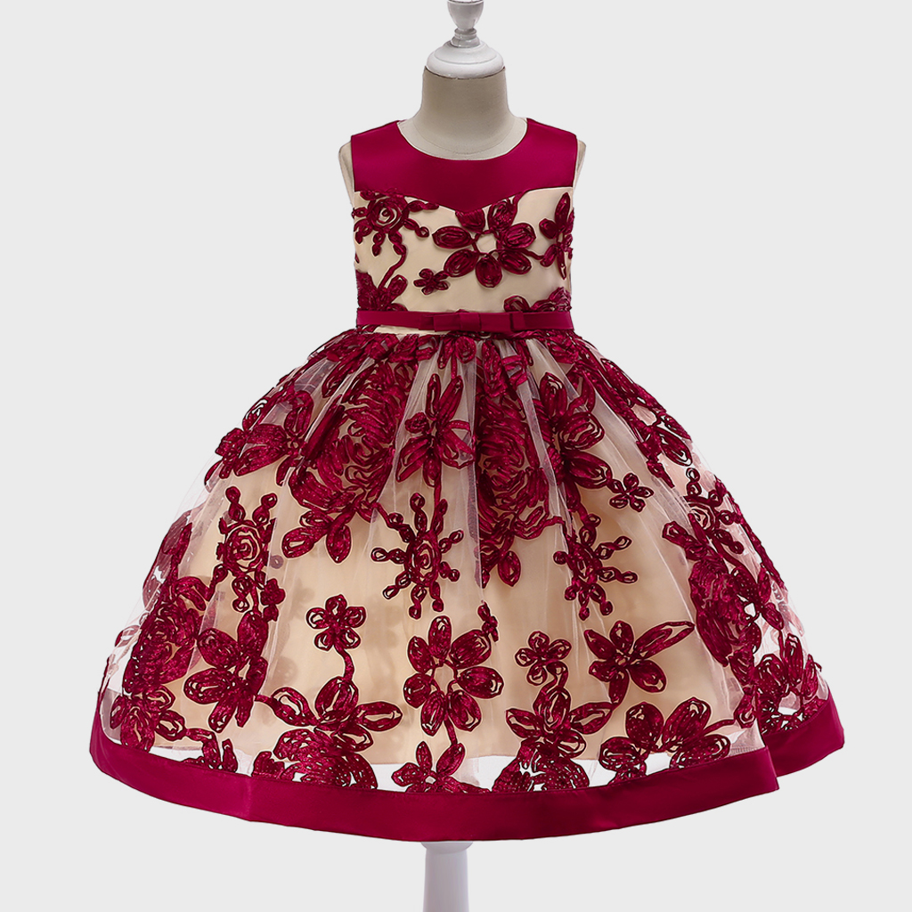 Купить со скидкой Pretty Floral Embroidery Color Blocked Bow Decor Party Dress