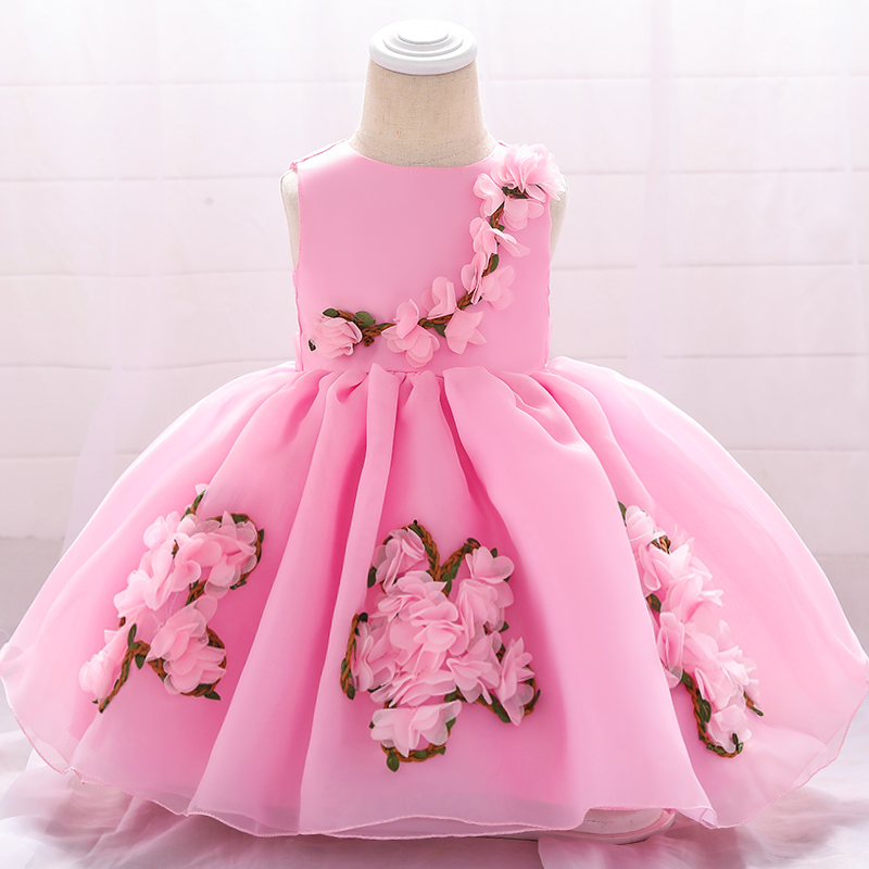 Купить со скидкой Baby / Toddler Girl Pretty 3D Floral Decor Tulle Party Dress