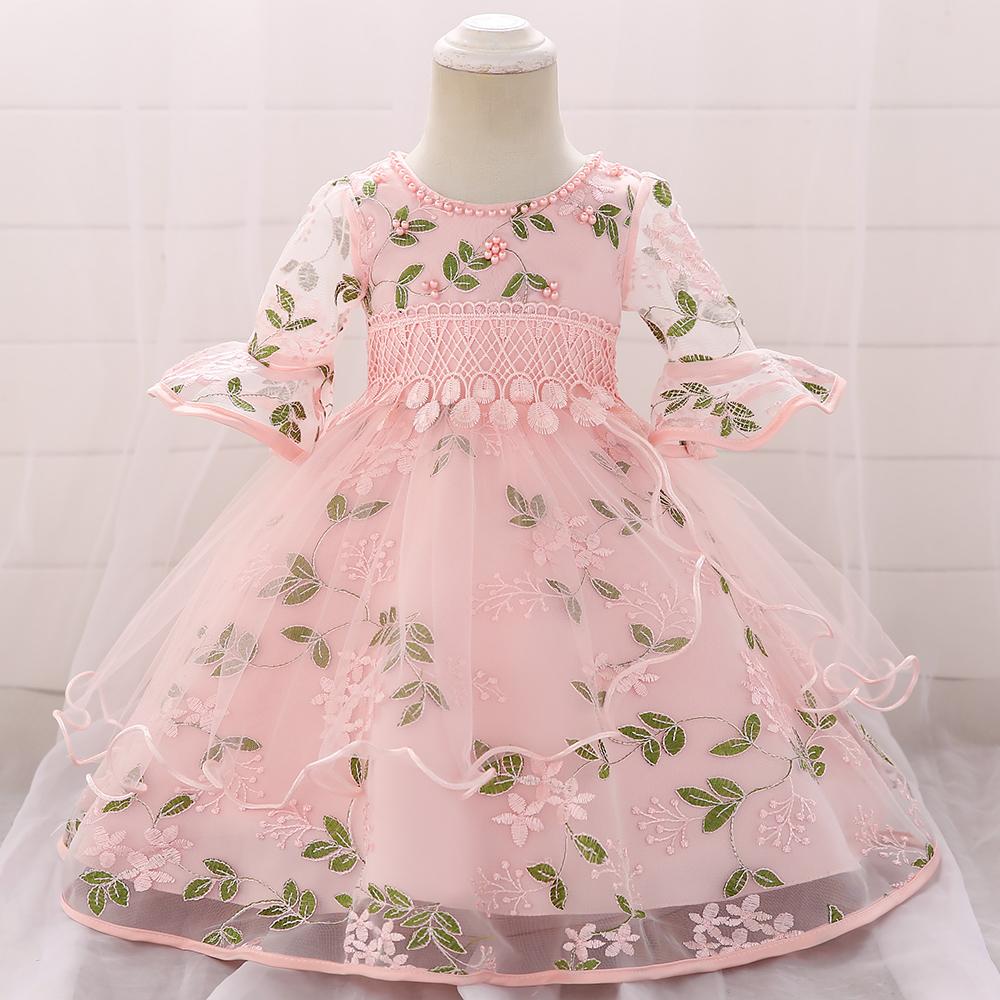 Bébé / Enfant Élégantes Feuilles Appliques de Perles Gland Arrondi-manches Tulle Bulle Robe de Princesse
