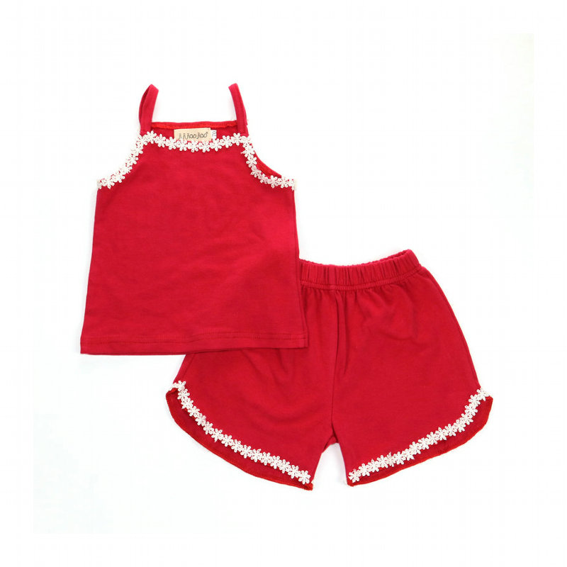 Купить со скидкой Fresh Lace Tank Top and Shorts Set for Baby and Toddler Girl