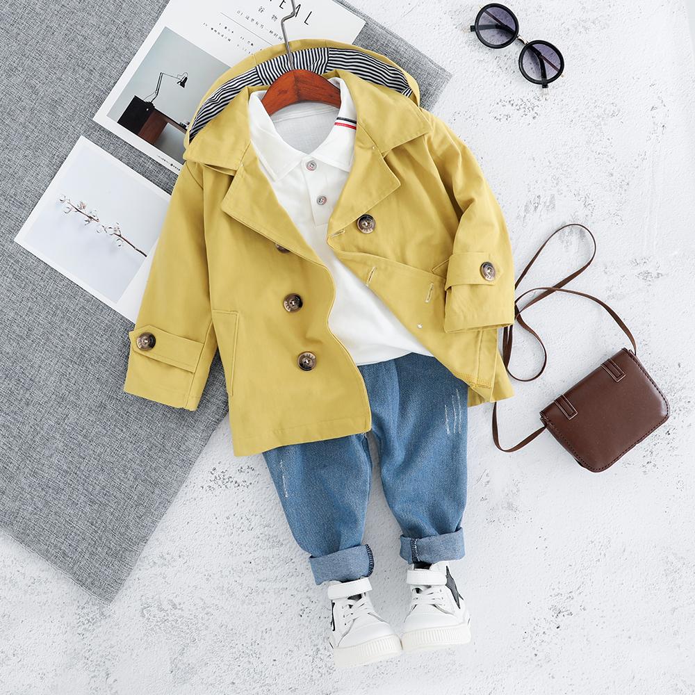 3 pezzi Baby / Bambino alla Moda Solid giacca a Vento e Tee con i Jeans Set