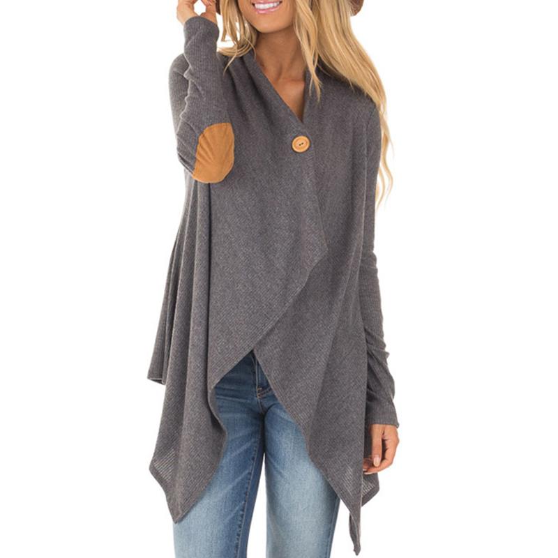 Frauen Stylish Asymmetrischer Strick Cardigan in Grau