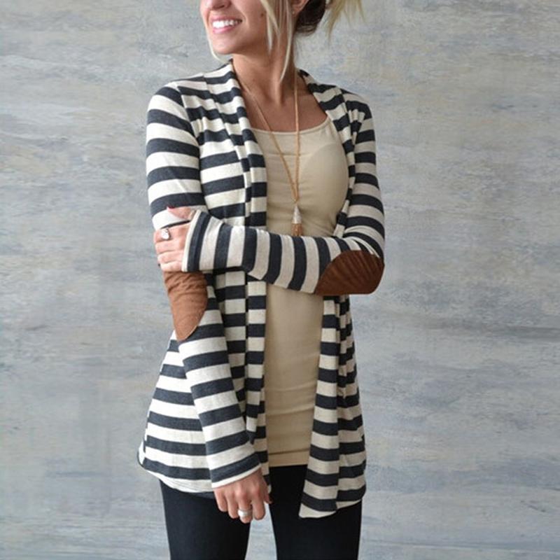 Trendy a righe a manica Lunga Cardigan